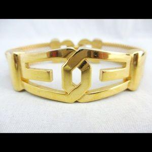 Givenchy 1977 gold toned logo mesh bracelet